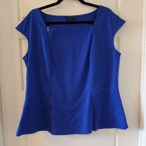 Blue Zippered Peplum Top